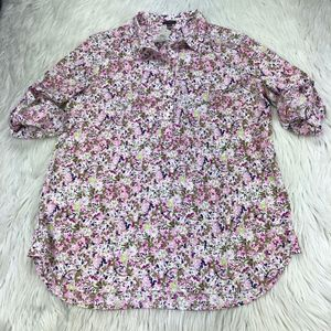 NWT Ann Taylor Abstract Floral Pop Over Blouse